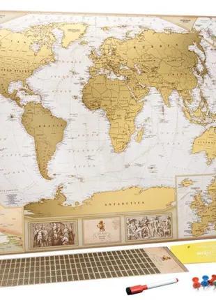 Скретч карта мира в античном стиле MyGift Antique Edition ENG