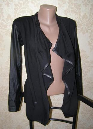 Стильный кардиган италия s-m-размер ткань+ кожа