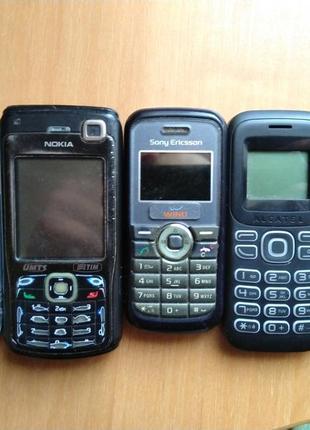 3 телефонов Nokia, Motorola, Sony Ericsson, Alcatel
