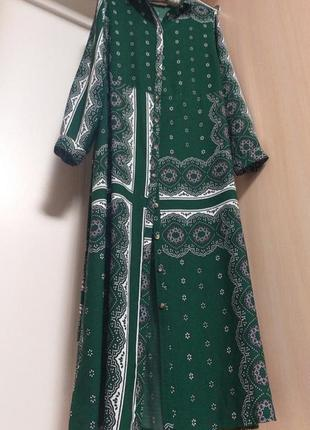 Длинное платье рубашка халат с поясом на пуговицах