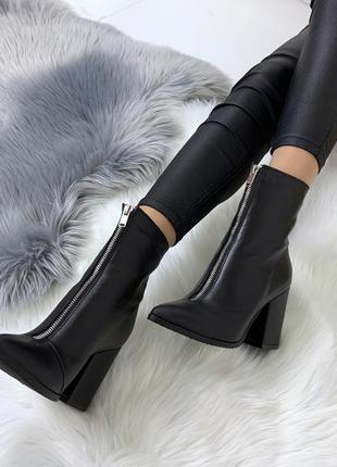 Шикарные кожаные ботильоны с молниями,тёплые ботинки на каблук...