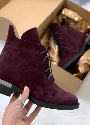 Бордовые замшевые ботинки на низком каблуке,зимние ботинки на ...