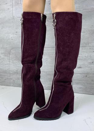 Шикарные зимние сапоги с молниями,замшевые сапоги на каблуке с...