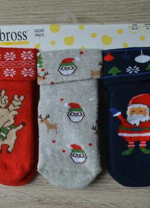 Детские махровые новогодние носочки набор из 3-х пар турецкой ...