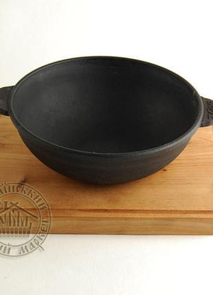 Сковорода чугунная WOK на деревянной подставке (18 см)