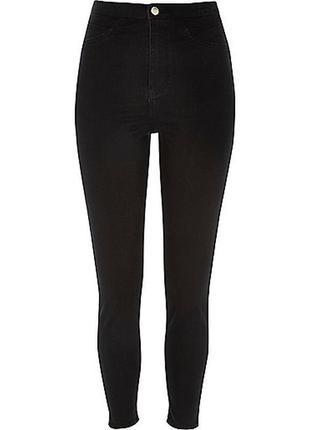 Черные джинсы скинни американки с высокой талией посадкой узка...