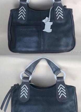 Черная сумка с бирюзовыми елементами 100% натуральная кожа rad...
