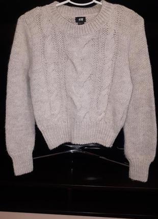 Крутой укороченный свитер с альпакой раз.h&m