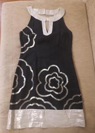 Платье лен с вышивкой бисером англия