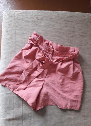Нежные шорты высокие с поясом чайная роза