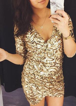 Нарядное платье блестки пайетки на запах bik bok