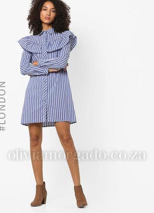 Платье рубашка в полоску волан glamorous размер s