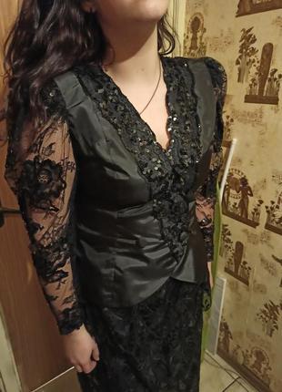 Роскошный,нарядный,вечерний костюм-двойка: гипюр,юбка с баской...