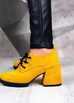 Натуральная замша. закрытые туфли на шнурках на ассиметричном ...