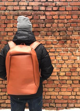 Большой кожаный рюкзак антивор с отделением для ноутбука