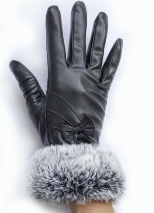 Женские перчатки с мехом из кожи козы, кожаные черные перчатки