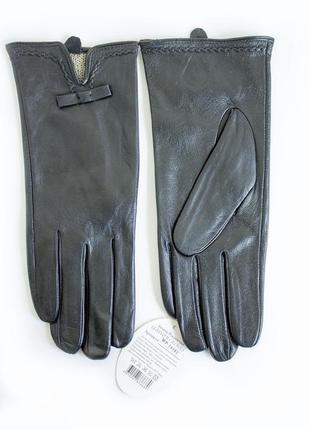 Женские кожаные перчатки шерсть сенсорные
