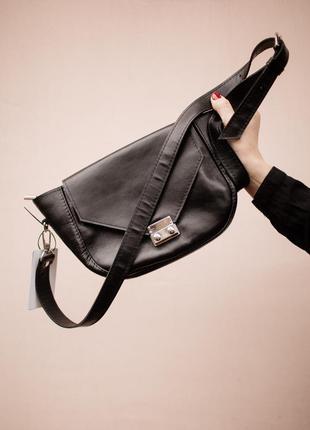 Кожаная сумка через плечо со стильным замком, сумка из натурал...