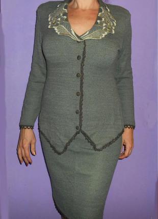 Женский трикотажный костюм кофта юбка вышивка кружево