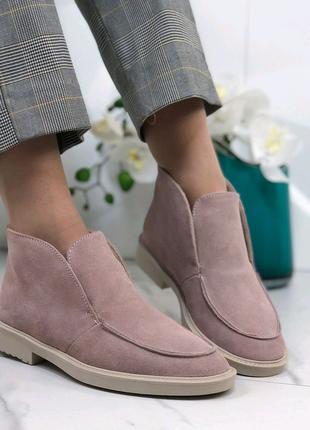 Лоферы пудра, замшевые ботинки женские, высокие лоферы, туфли