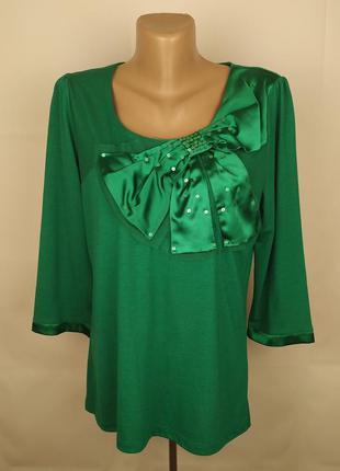 Блуза зеленая шикарная с бантом атлас сеточка паетки marks&spe...