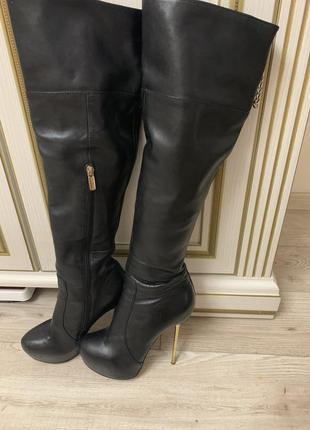 Высокие сапоги ботфорты на шпильке размер 38 натуральная кожа