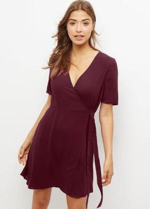Платье на запах цвета марсала new look размер 10