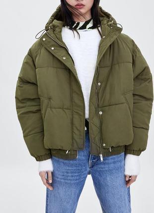 Оверсайз пуффер, дутик, куртка с капюшоном от zara