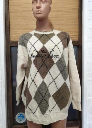 Классный свитер ,шерсть l-4xl