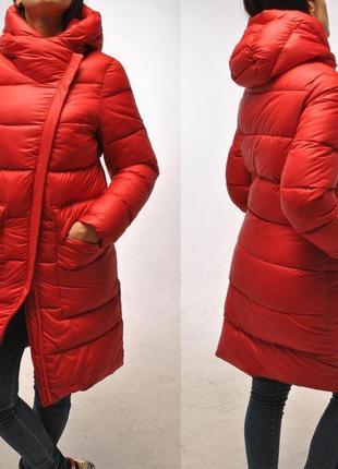 Красный пуховик-косуха на тинсулейте. коллекция 2018-2019
