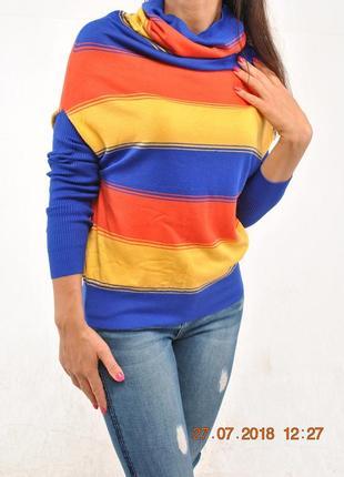 Стильные свитера в крупную полоску, разные цвета