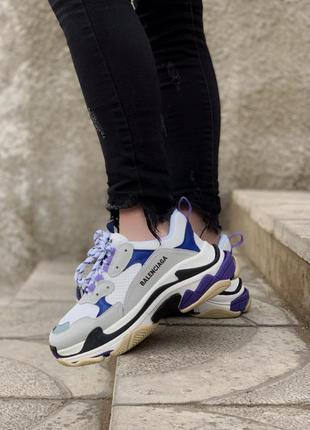 Balenciaga triple s violet шикарные женские кроссовки