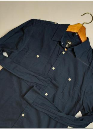 Мужская темно-синяя рубашка h&m