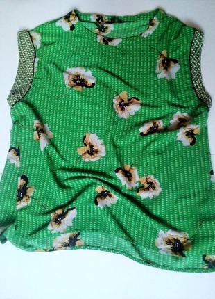 Зеленая стильная свободная блуза принт цветы ромбы