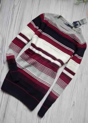 🌿оригинальный женский вязаный свитер, полувер, кофта в полоску...