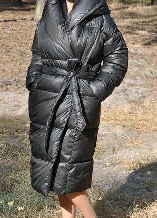 Черный пуховик-одеяло, размер хл