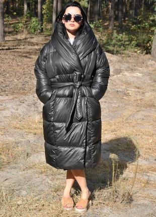 Черный самый модный пуховик