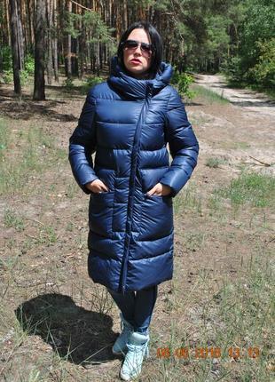 Зимнее удлиненное пуховое пальто на тинсулейте