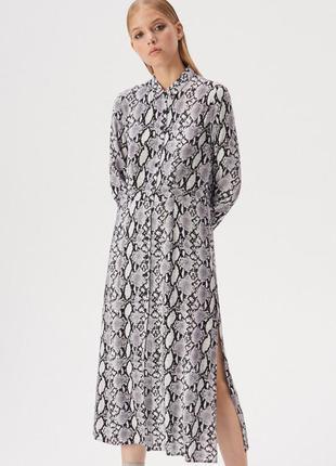 Платье-рубашка  миди с принтом