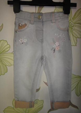 Серые джинсы tu с цветами  9-12 мес, 74-80 см
