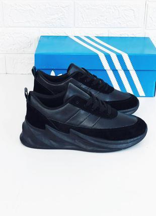 Adidas sharks кроссовки женские мужские подростковые чёрные ос...
