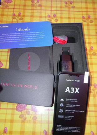 "Смартфон UMIDIGI A3X Android10:3/16 Гб 5,7""(наушники, OTG-кабель)"
