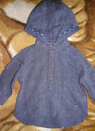 Льняная темно-синяя рубашка next в полоску 3-6 мес