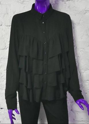 Чёрная рубашка блуза с рюшами 💜