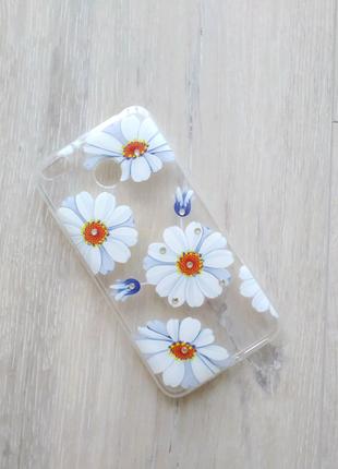 Xiaomi Redmi 4x чехол силиконовый прозрачный цветы