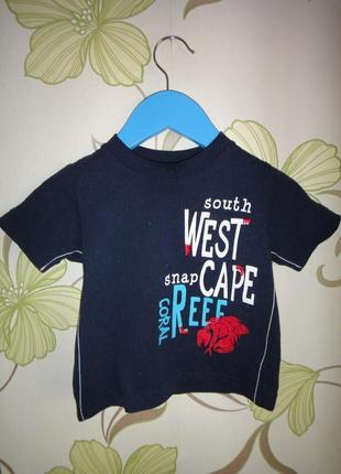 Темно-синяя футболка mothercare  9-12 мес, 80 см