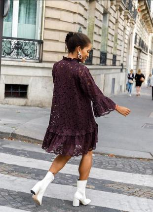 Шикарное кружевное платье h&m цвета бургунди 💜