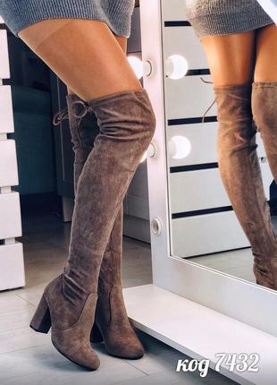 Замшевые сапоги ботфорты,коричневые высокие ботфорты на каблуке