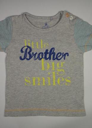 """Футболка next """"little brother big smiles"""" 0-6 мес"""