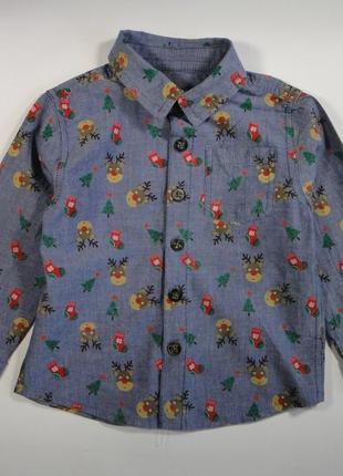 Джинсовая рубашка в новогодний принт 1 год
